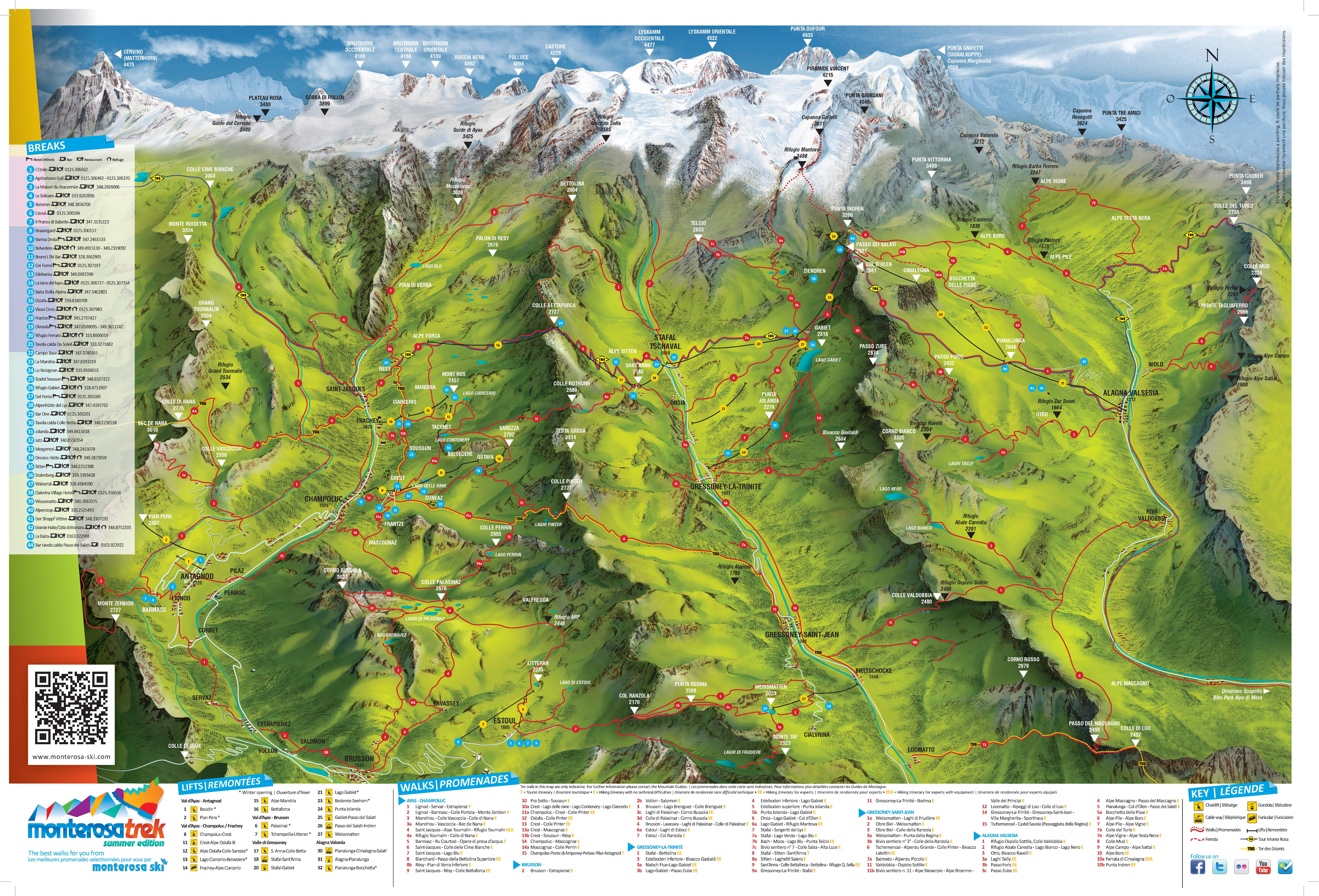 Trek Maps To Monterosa Thealpscom - Sweden map trekking