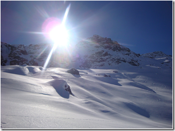Ski mountaineering in the sun