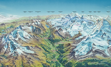 Saas-Fee trek map