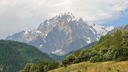 Mont Blanc seen from the Aosta Valley
